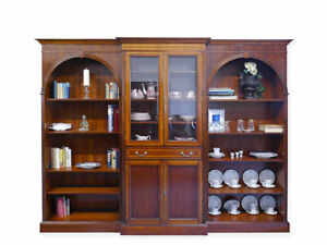 Etagere-Bibliotheque-Vitrine-dans-Anglais-Style-Marqueterie-Acajou-Plaque-6097