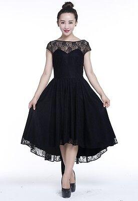 Plus Size Black Gothic Retro Hi Lo Lace Short Sleeve Dress 1X 2X 3X 4X |  eBay