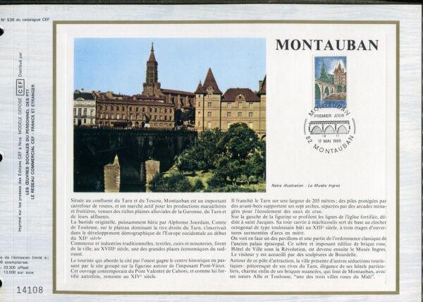 100% Vrai Document Cef Premier Jour 1980 Timbre N° 2083 Montauban Belle En Couleur