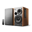 Durable Powered Bookshelf Speakers Remote Control Studio Monitor Wooden Stereo