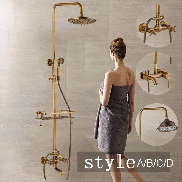 Elegant Antique Brass Rain Shower Faucet With Gel Shelf Hand Shower Mixer Taps