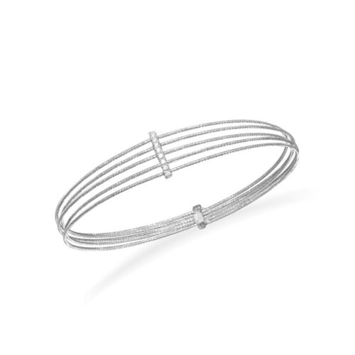 Rhodium Plated Multirow Twisted Wire Bangle with CZ Bar 925 Sterling Silver