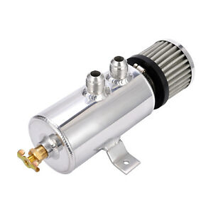 Aluminium-Baffled-Engine-Oil-Catch-Can-2x-AN8-Twin-Port-Breather-Filter-Polishe