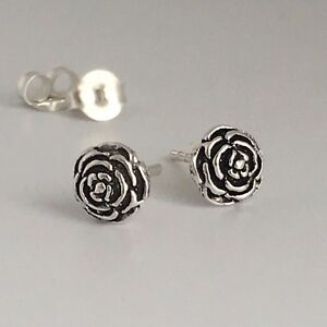 778d1ad54 Image is loading 925-Sterling-Silver-Oxidized-Rose-Stud-Earrings-Cartilage-