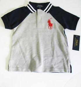 14-16 Polo Ralph Lauren Boys Cotton Mesh Short Sleeve Henley Shirt Navy Sz L