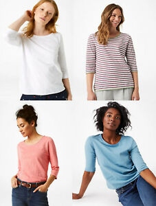 White-Stuff-CUELLO-REDONDO-SCOOP-Rosa-Blanco-Azul-Blusa-Camiseta-Top-10-12-14-16-18