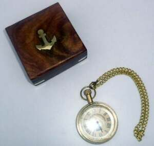 Nautical-Maritime-Antique-Brass-Pocket-Watch-Chain-Pandent-Clock-With-Wooden-Box