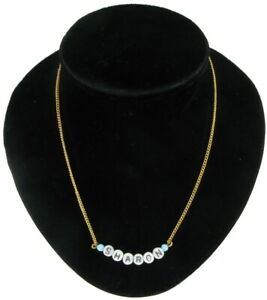 Sharon-Name-Necklace-Gold-Tone-Blue-Glass-Circa-1950-60