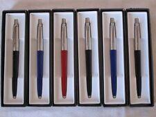 6 Parker Jotter Ballpoint Pack of 6 Black /Red /Blue Barrel / Black ink
