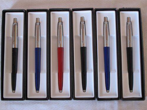 Black ink 6 Parker Jotter Ballpoint Pack of 6 Black //Red //Blue Barrel