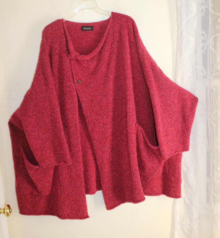 Eskandar O S Incredible pink Art Boxy Pink Boucle Cashmere Wool Cardigan Sweater