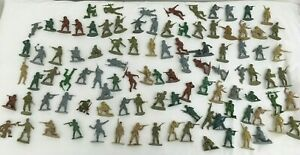 Vintage-Plastic-Army-Men-job-lot-Military-Toy-Soldiers-5cm-tall