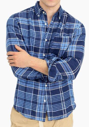 NEW NWT Mens J.Crew J Crew Slim Fit 100/% LINEN Buttondown Shirt Blue Plaid *1Z