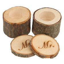 Wedding Ring Bearer Double Boxes Wooden Printed Mr and Mrs Rustic Romantic Gift
