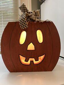 Wood-Pumpkin-Light-up-Farmhouse-Primitive-Halloween-Fall-Decoration-Preowned