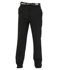 New-Mens-Washable-Smart-Casual-Formal-Work-Office-Relaxed-Suit-Trousers-Black