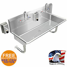 Industrial Hand Sink Multiusers 2 Person Basin 40 Manual Faucet Stainless Steel
