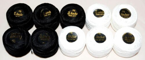 5 x Black UK 5 White 10 x ANCHOR Pearl Cotton Balls Size.8 85 Meters each