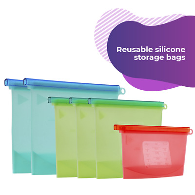Reusable Silicone Food Storage Leak Proof 6 Pack Freeze