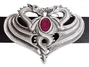 Gegen-Drachen-Guertelschnalle-Hand-Made-In-Zinn-mit-Amethyst-farbigem-Stein