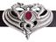 Gegen-Drachen-Guertelschnalle-Hand-Made-In-Zinn-mit-Amethyst-farbigem-Stein Indexbild 1