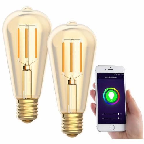 zu Amazon Alexa /& Google komp 2er-Set LED-Filament-Lampen 2200 K