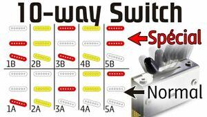 FREEWAY 5B5-01 10 WAY PICKUP SELECTOR SWITCH BLACK & WHITE CAP FOR FENDER STRAT