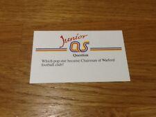 Watford Elton John / Junior A Question of Sport game card 1990 #204 football
