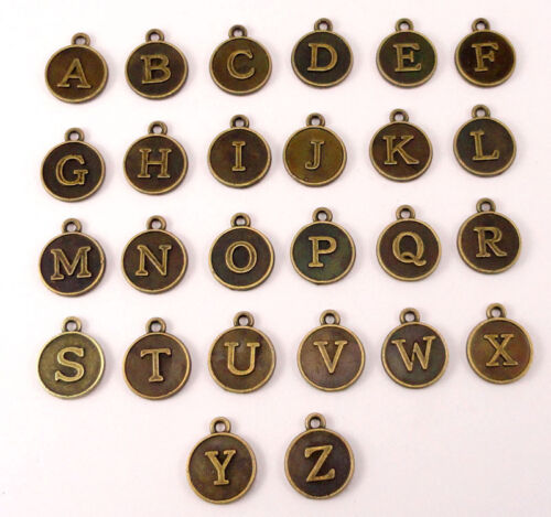 26Pcs//Lot A-Z bronze initiale alphabet lettre Charme pour À faire soi-même Handmade Jewelry