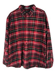 Eddie-Bauer-Cotton-Flannel-Mens-Large-Red-Plaid-Long-Sleeve-Heavy-Button-Up-Euc