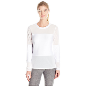 X BY GOTTEX Solid Panel Long Sleeve Top Women  White