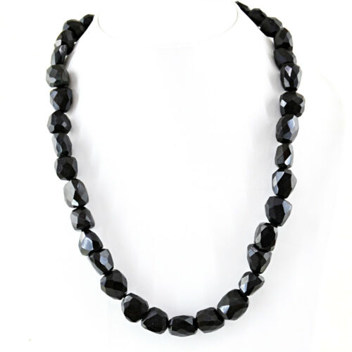 541.00 Cts Natural Untreated Single Strand Black Spinel Faceted Beads Necklace