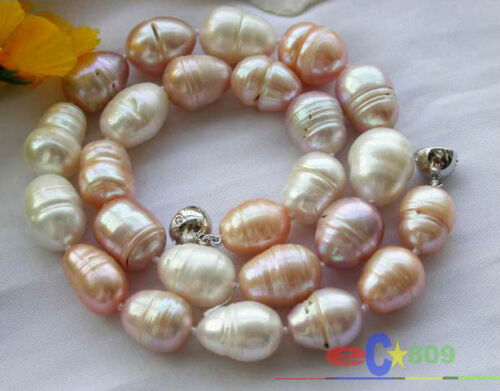 """HUGE 17/"""" 17mm multicolor rice FRESHWATER CULTURED PEARL NECKLACE MAGNET"""