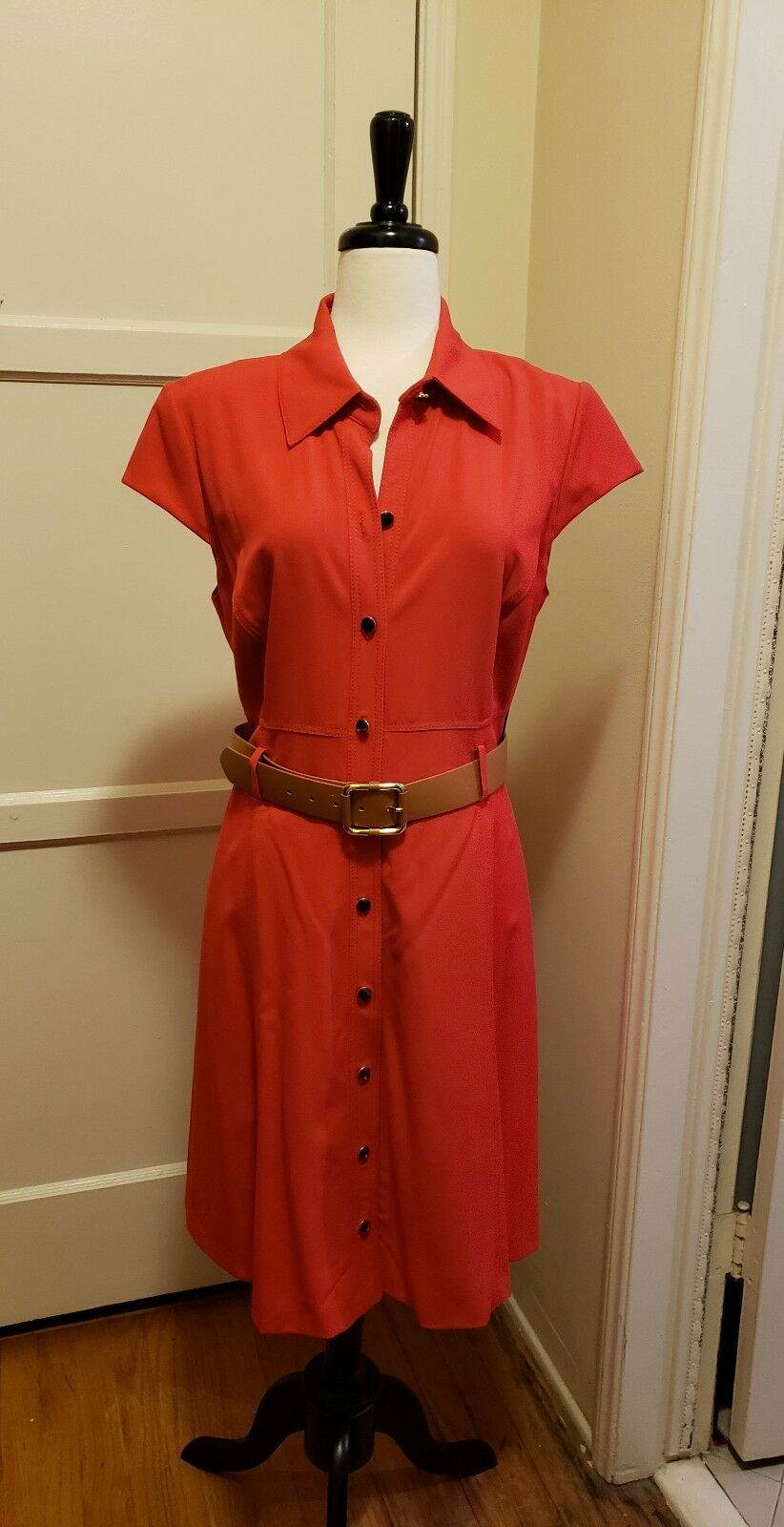 Tahari Poppy Red Retro A-Line Belted Tiger Eye Button Dress  - 14P 14 Petite