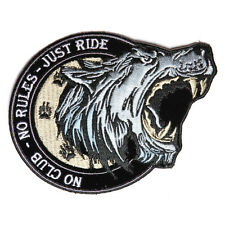 Embroidered No Club No Rules Just Ride Wolf Iron on Sew on Biker Patch Badge