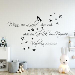 Details zu Wandtattoo Baby Zimmer AA136 Wenn aus Liebe Leben  wird...personalisiert Datum++