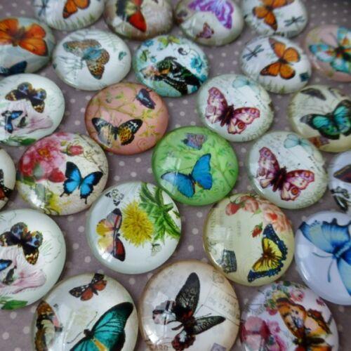 10 pcs Mix Pattern Butterfly Cabochons 20mm
