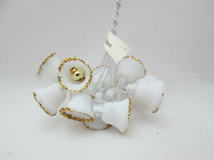 "12 Miniature White Plastic 5/8"" Bells w/Clappers & gold Glitter Trim"