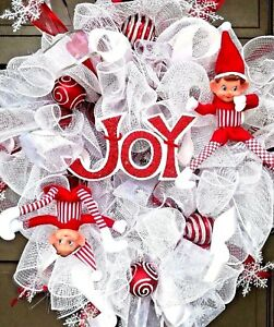 Handmade-Deco-Mesh-White-Whimsical-Christmas-Elf-Winter-JOY-Wreath-Door-Decor