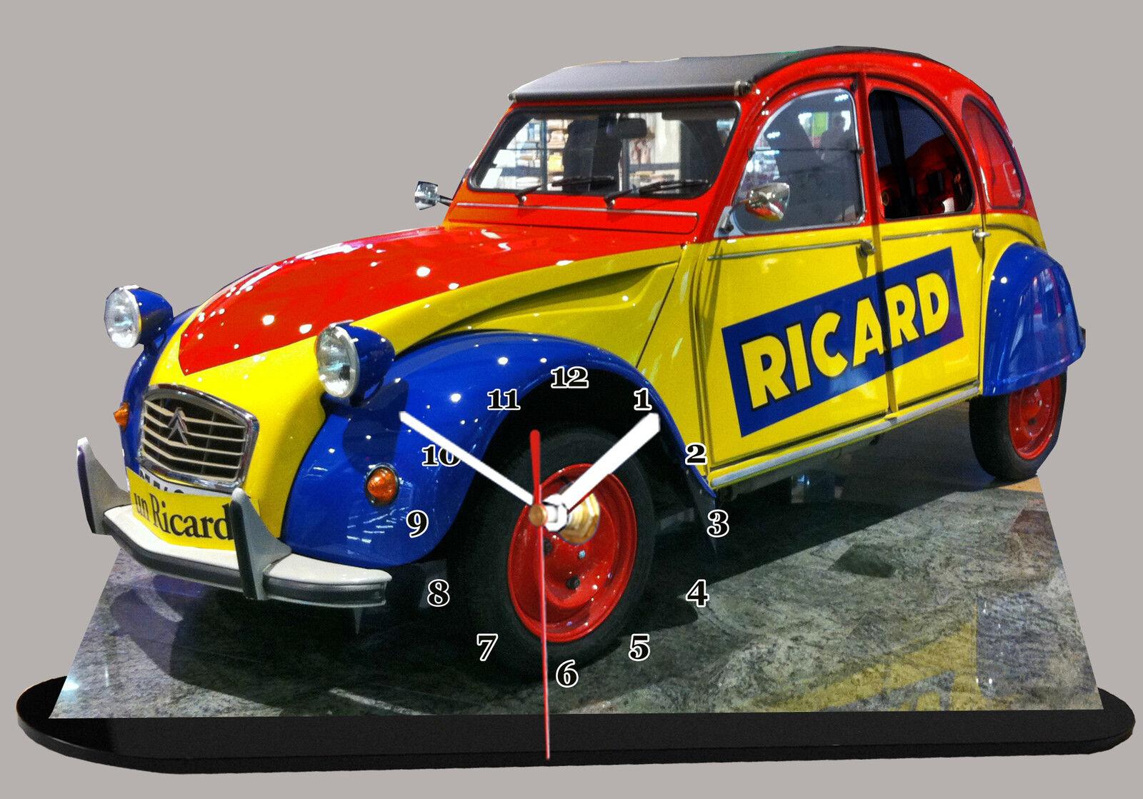 AUTO CITROEN 2CV 2CV 2CV RICARD, OBJET RICARD, EN HORLOGE MINIATURE SUR SOCLE 016388