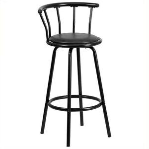 Flash Furniture Metal Crown Back Swivel Stool In Black