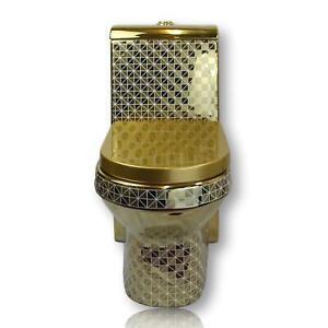 Goldene-Toilette-Gold-Exklusiv-Luxus-WC-Klo-Stand-Badezimmer-Bad