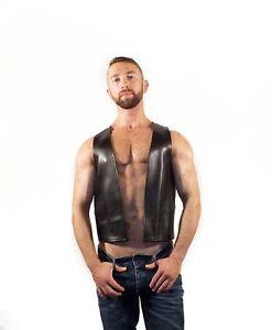 New Genuine leather Bar Waist Coat Vest Deep Neck Mens Gay Fetish Kink Leder
