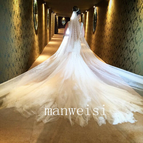 White Pearls Royal Wedding Bridal Veils 1 T 3 M Cathedral-Length Veil With Comb