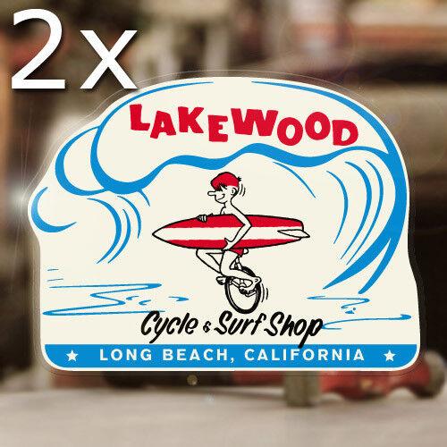 2x Stück Lakewood Cycle Surf Shop Sticker Aufkleber Surfing Aircooled Hot Rod