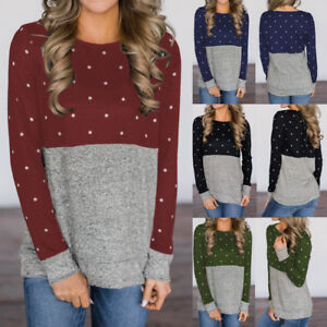 Latest-Autumn-amp-winter-Ladies-Polka-Dot-Casual-Soft-Sweatshirt-Long-sleeve-Blouse