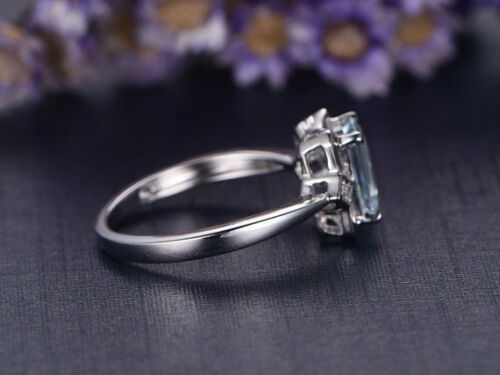 2Ct Emerald Cut Natural Aqua Blue Topaz Simulated Diamond Ring Silver Gold Finsh
