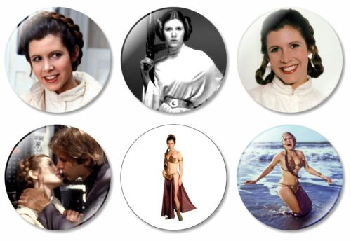 6 x Star Wars 32mm BUTTON PIN BADGES Princess Leia Jedi Yoda Skywalker Figurine