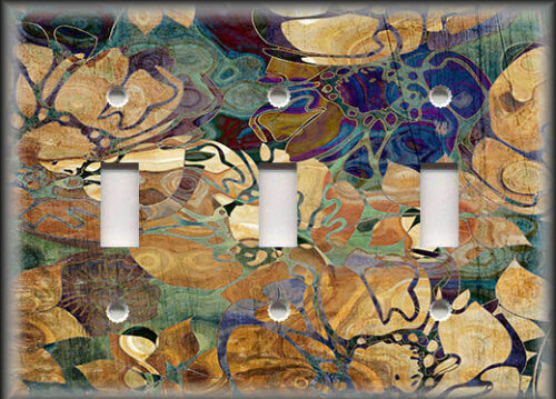 Abstract Art Decor Blue Brown Floral Home Decor Metal Light Switch Plate Cover