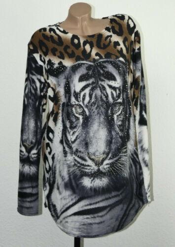 Damen Pullover T-Shirt Longpulli Shirt Strick Streich Bluse Oberteil Gr 46-50